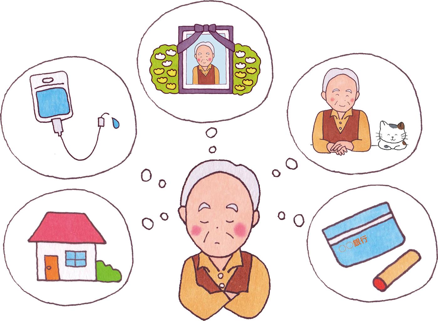 自分の財産の残し方に悩む老人