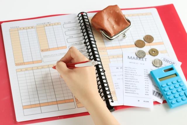 家計簿に使用した財産を書き込む管理人