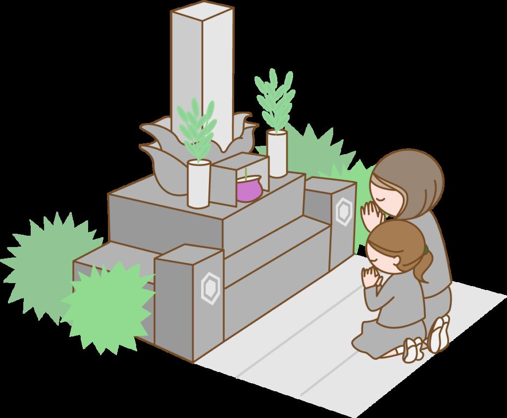 墓参りをする母と娘