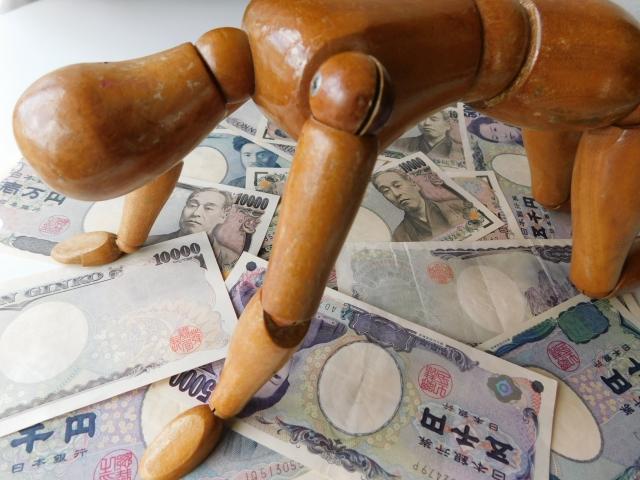 お金の上で膝をつく人形