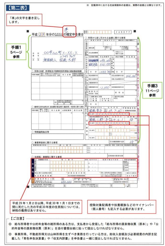 準確定申告書B第二表記入例