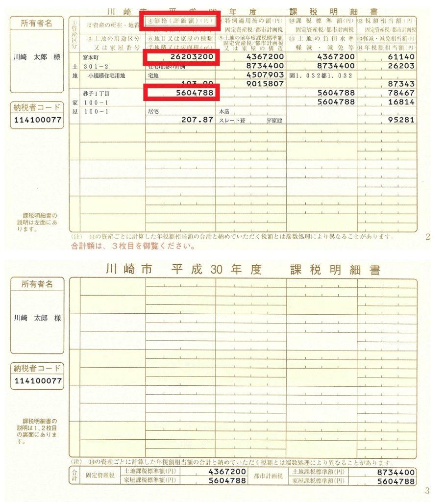 川崎市固定資産課税明細書