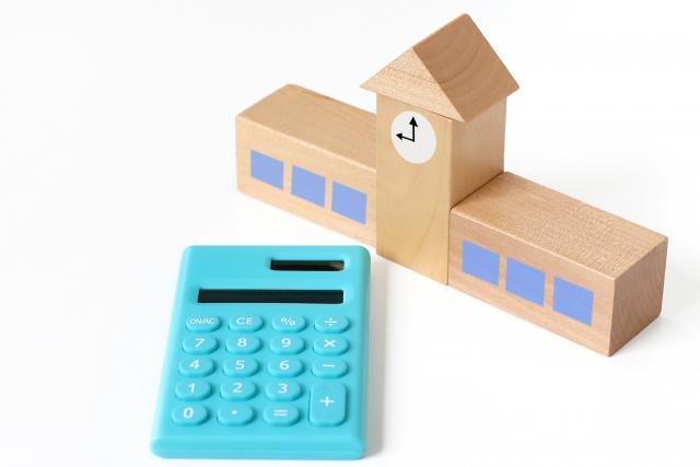 学校の模型と電卓